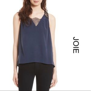 NWT Joie | Avery Dark Navy/Caviar Lace Blouse L